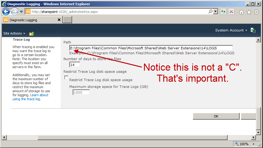 Move your SharePoint 2010 logs off of your C drive - Todd