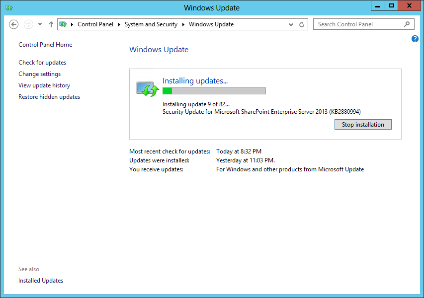 How to use Windows Update to Patch your SharePoint Servers
