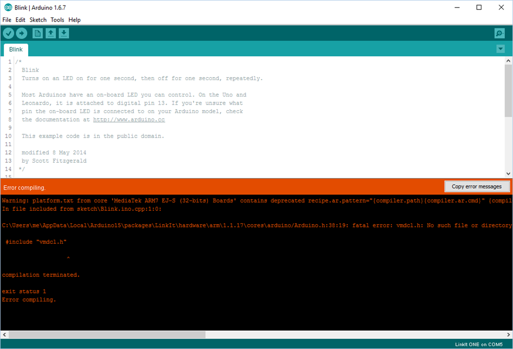Problem twi h arduino no such file directory guna on