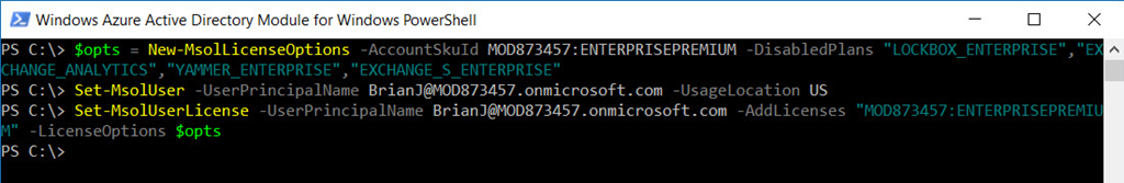 Using PowerShell to Specify License Plans in Office 365