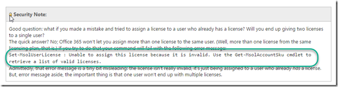 """Getting """"Unable to assign this license because it is invalid"""" in"""